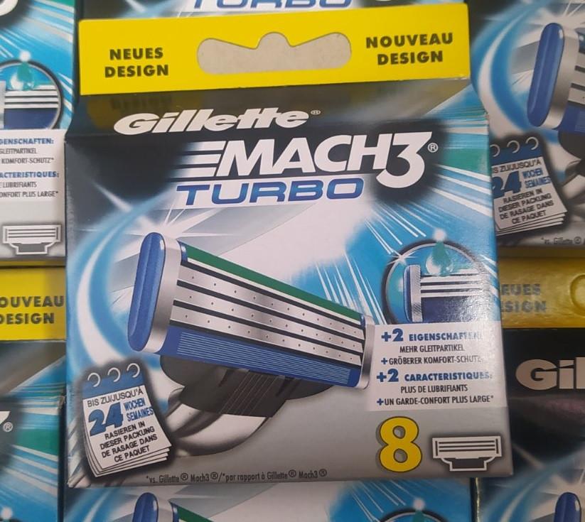 Картриджі, касети, леза Gillette Mach 3 Turbo \ Жилет Мак 3 Турбо 8 шт