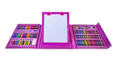 Дитячий мольберт художній набір для малювання 208 предметів Рожевий