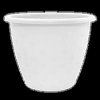 Белый цветочный горшок с декором 6.5л 27*20.5 см, цветочный вазон