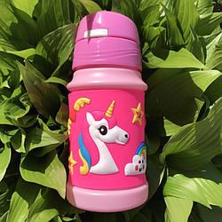Детская бутылка для воды с трубочкой Единорог 350 мл