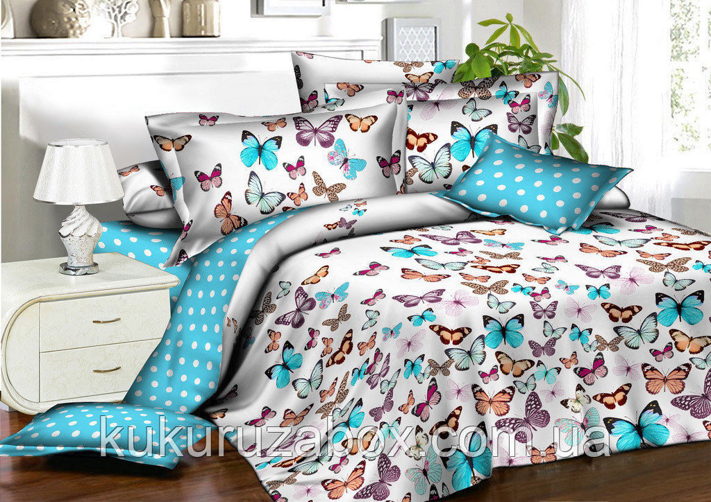 Семейный комплект постельного белья 150*220 (2шт) из ранфорса Бабочки и горошек