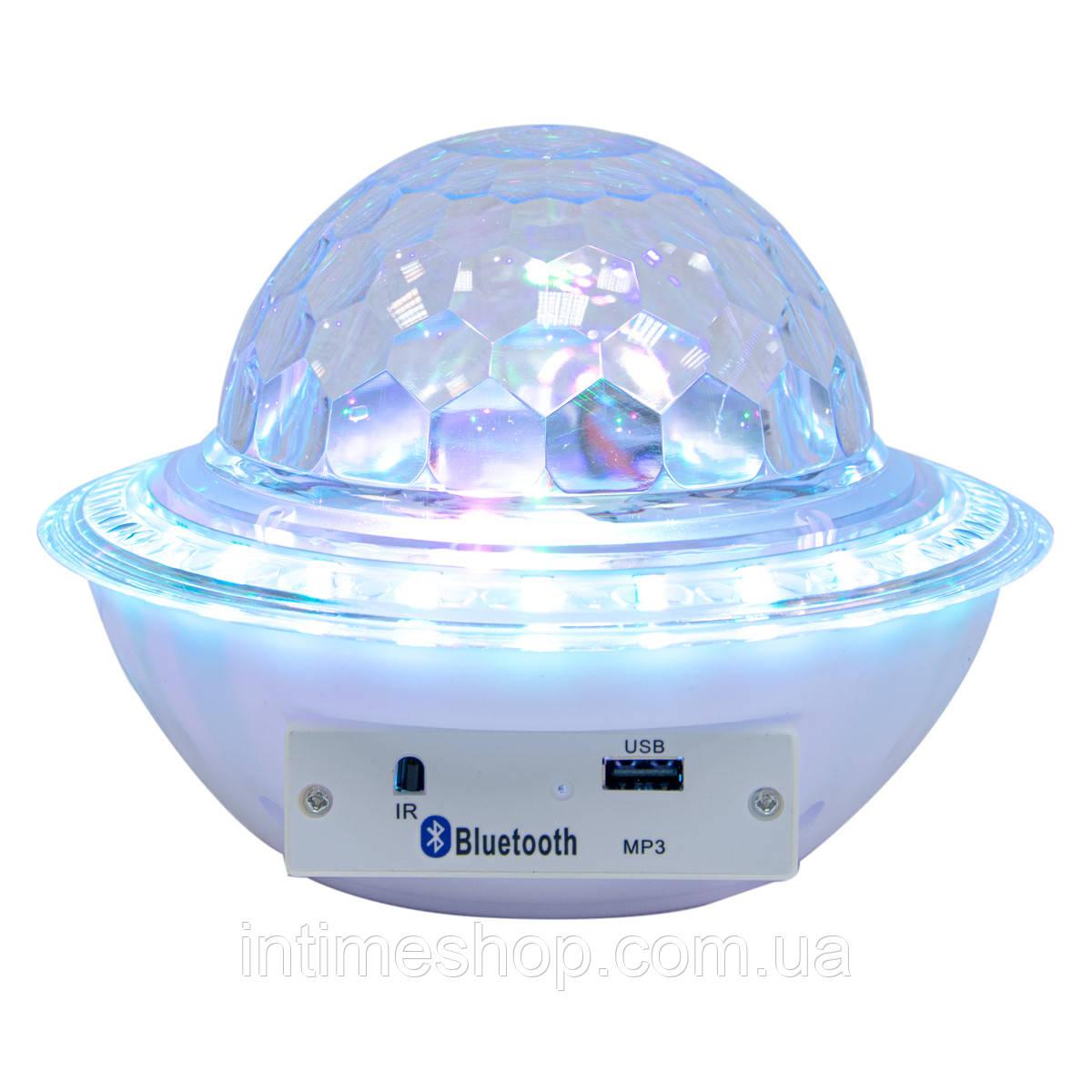 Диско шар с блютузом Ufo crystal magic ball - Белый, светодиодный музыкальный дискошар, цветомузыка (TI)