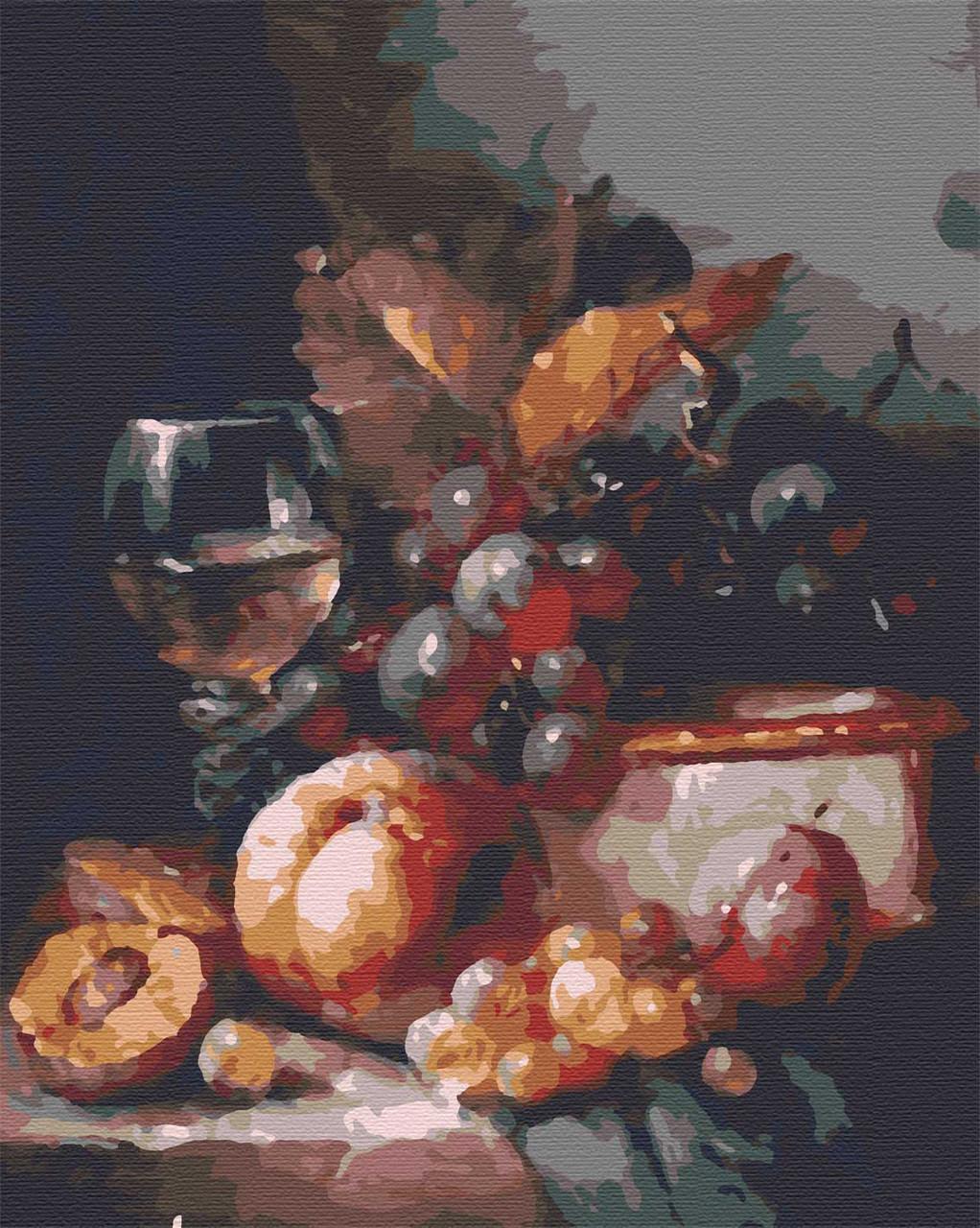 Картина по номерам натюрморт фрукты 40х50 Вино и фрукты