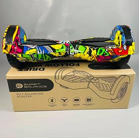 Гироборд Smart Balance Гироскутер 8 дюймов от 4х лет Желтый Хип Хоп + ПОДАРОК СУМОЧКА