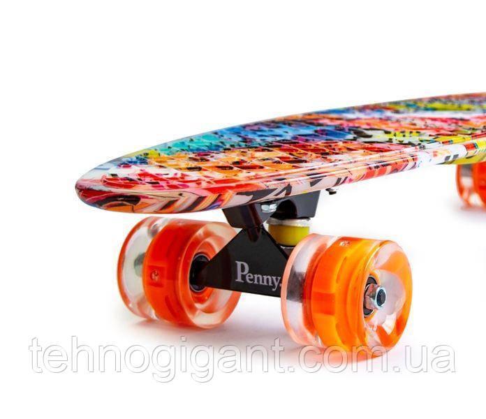 Скейт Penny Board, с широкими светящимися колесами Пенни борд, детский , от 4 лет, расцветка Графити