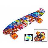 Скейт Penny Board, с широкими светящимися колесами Пенни борд, детский , от 4 лет, расцветка Графити, фото 2