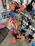 Скейт Penny Board, с широкими светящимися колесами Пенни борд, детский , от 4 лет, расцветка Графити, фото 6
