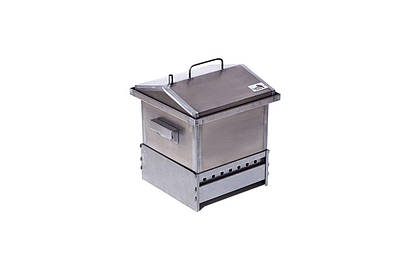 """Коптильня для гарячого копчення кришка """"Будиночком"""" (300х300х250) з підставкою"""