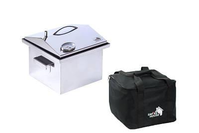 """Коптильня з термометром і сумкою кришка """"Будиночок"""" з нержавіючої сталі (300х300х250)"""