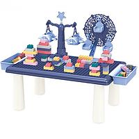 Детский игровой столик с конструктором RUNRUN Block World, с навесными ящиками 69 деталей