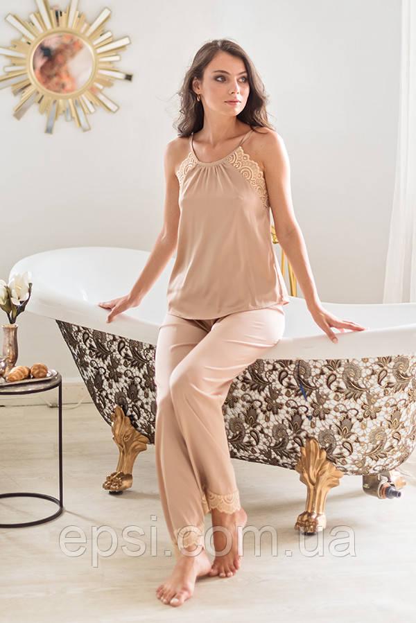 Піжама Forly Комплект шовковий з брюками Nude M Бежевий SH0004-01-79_M