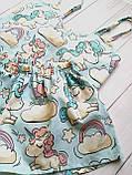 Пижама мятная с единорогами, майка с шортами, фото 2