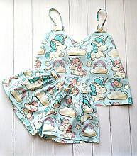 Пижама мятная с единорогами, майка с шортами