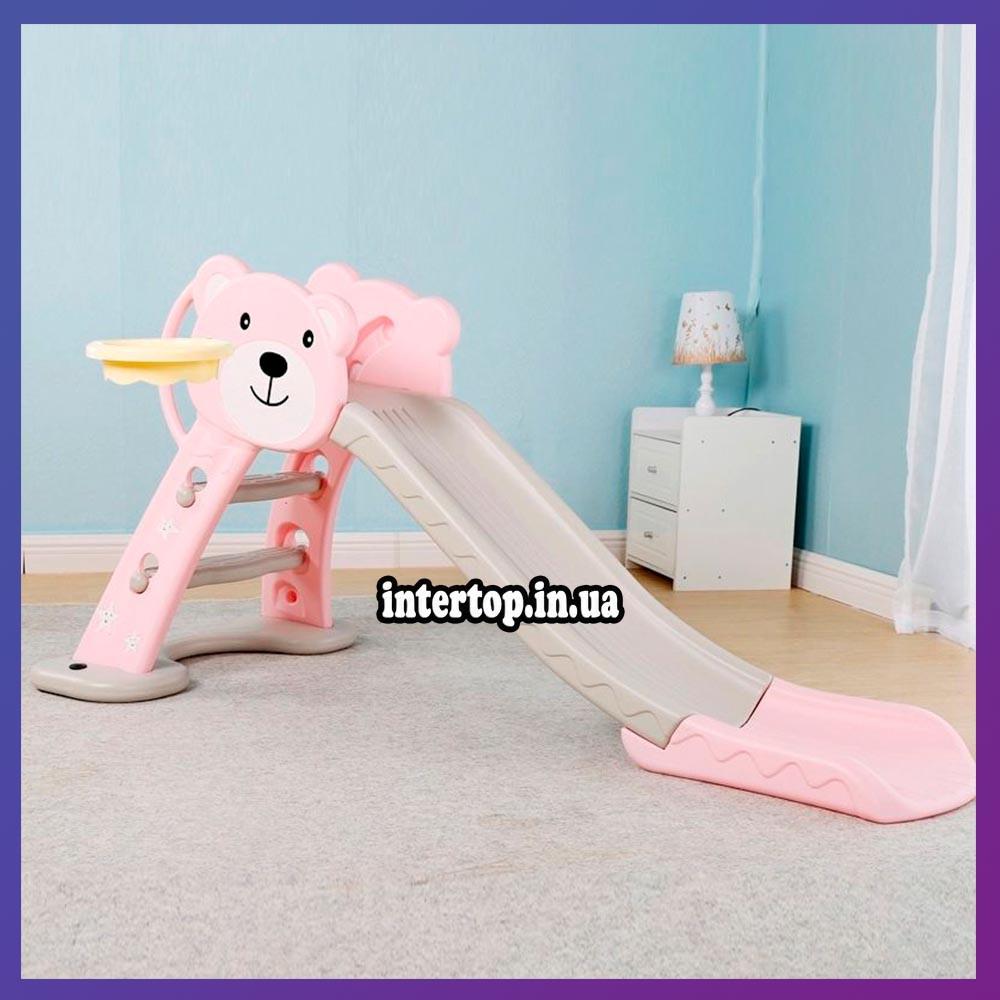 Детская пластиковая горка с кольцом и мячиком Bambi HF-H008-8 розовая
