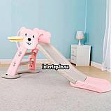 Детская пластиковая горка с кольцом и мячиком Bambi HF-H008-8 розовая, фото 2