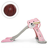 Детская пластиковая горка с кольцом и мячиком Bambi HF-H008-8 розовая, фото 6