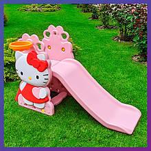 Дитяча пластикова гірка з кільцем і м'ячиком Hello Kitty HK2018-1A
