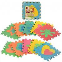 Развивающий детский игровой коврик пазл с разноцветными Фигурами M 2739 (10 элементов)