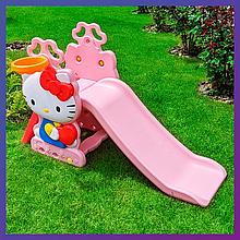 Дитяча пластикова гірка з кільцем і м'ячиком Hello Kitty HK2018-1В
