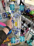 """Скейт Penny Board, с широкими светящимися колесами Пенни борд, детский , от 4 лет, расцветка """"СИНИЕ РОЗЫ"""", фото 3"""