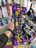 """Скейт Penny Board, с широкими светящимися колесами Пенни борд, детский , от 4 лет, расцветка """"Орхидея"""", фото 9"""