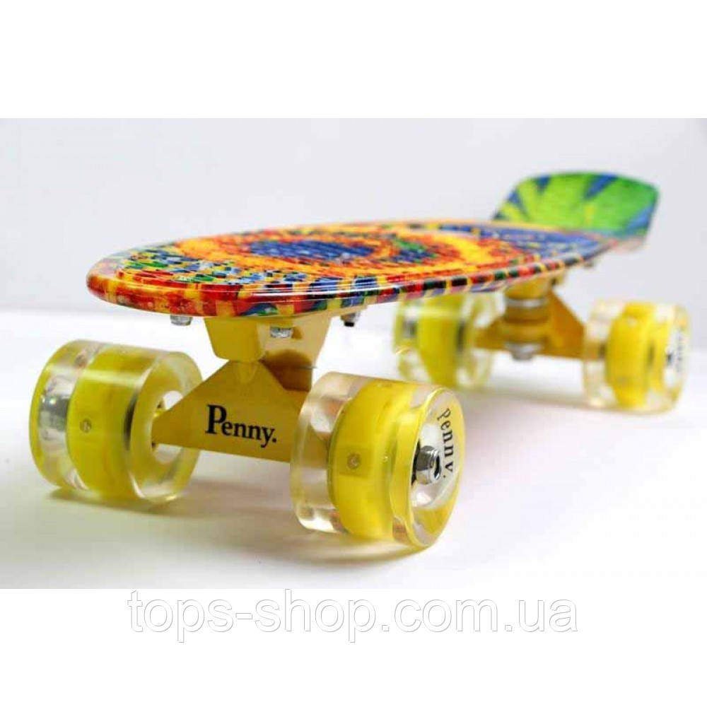 Скейт Penny Board, с широкими светящимися колесами Пенни борд, детский , от 4 лет, расцветка Солнце