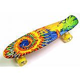 Скейт Penny Board, с широкими светящимися колесами Пенни борд, детский , от 4 лет, расцветка Солнце, фото 2