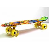 Скейт Penny Board, с широкими светящимися колесами Пенни борд, детский , от 4 лет, расцветка Солнце, фото 3