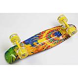 Скейт Penny Board, с широкими светящимися колесами Пенни борд, детский , от 4 лет, расцветка Солнце, фото 4