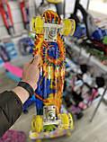 Скейт Penny Board, с широкими светящимися колесами Пенни борд, детский , от 4 лет, расцветка Солнце, фото 7