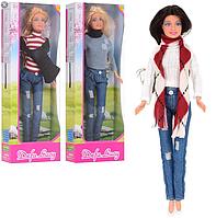 Кукла модница с длинными волосами DEFA 8366, одета в джинсы и свободный свитер (высота 29 см) (3 вида)