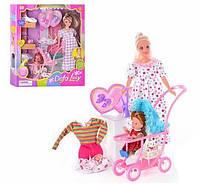 Набор для игры беременная кукла Defa 8049 с прогулочной коляской, ребенком и дополнительными аксессуарами
