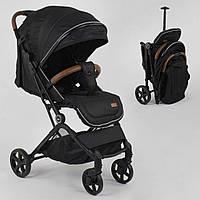 Детская коляска прогулочная JOY C-3003 с телескопической ручкой для перевозки, Черная глянцевая