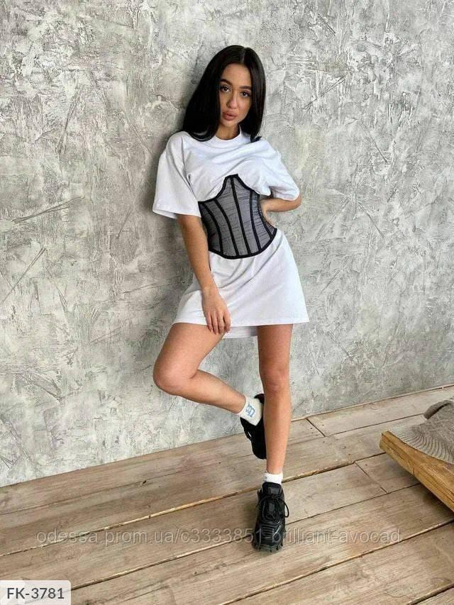Женское модное платье футболка и корсет