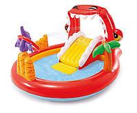 Детский надувной бассейн центр с горкой Intex 57163 «Дино» (196x170x107 см)