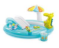 Детский надувной бассейн центр игровой с горкой Intex 57165 «Крокодил», 201х170х84 см