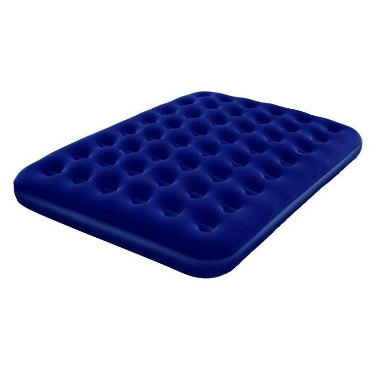 Двухместный надувной велюровый матрас 67003 синий 203-152-22 см