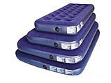 Двухместный надувной велюровый матрас 67003 синий 203-152-22 см, фото 3