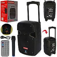Музыкальная колонка-чемодан на колесах с ручкой, на дистанционном управлении с микрофоном, подсветкой SDJ 0810