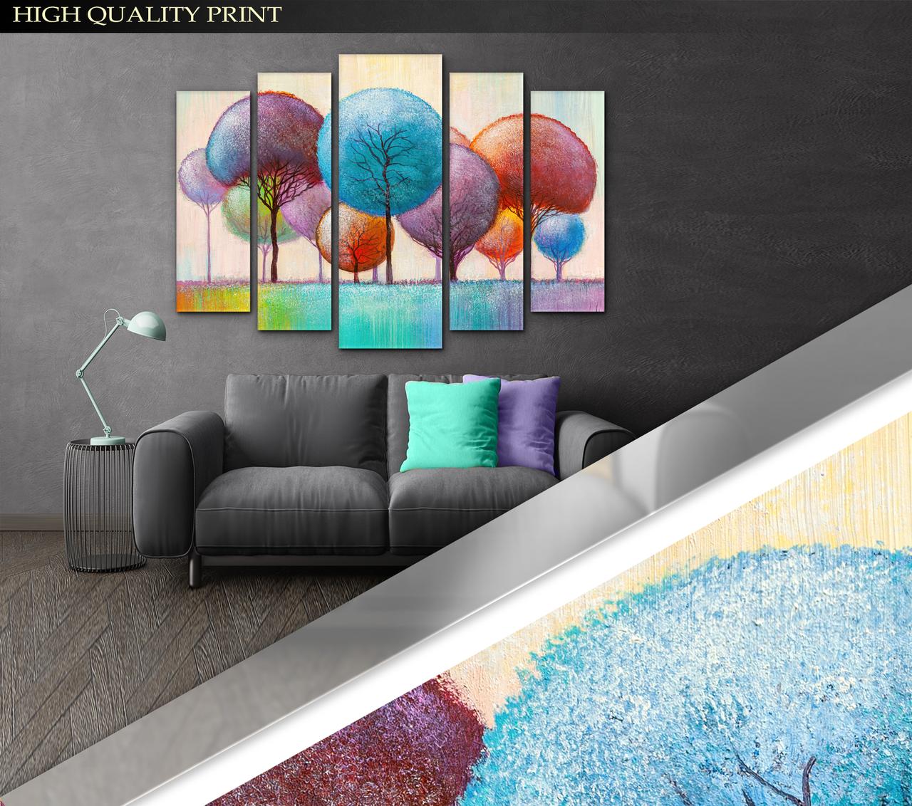 Модульна картина Poster-land у вітальню / спальню Абстракція Казковий ліс Art-458_5 ( 80х118см ) Poster-land