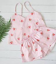 Пижама розовая  с клубникой, майка с шортами из хлопка