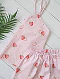 Піжама рожева з полуницею, майка з шортами з бавовни, фото 2
