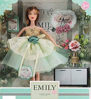 Лялька Emily без шарнірна в пишній сукні з бантом, з довгим темним волоссям, з аксесуарами QJ 088 D
