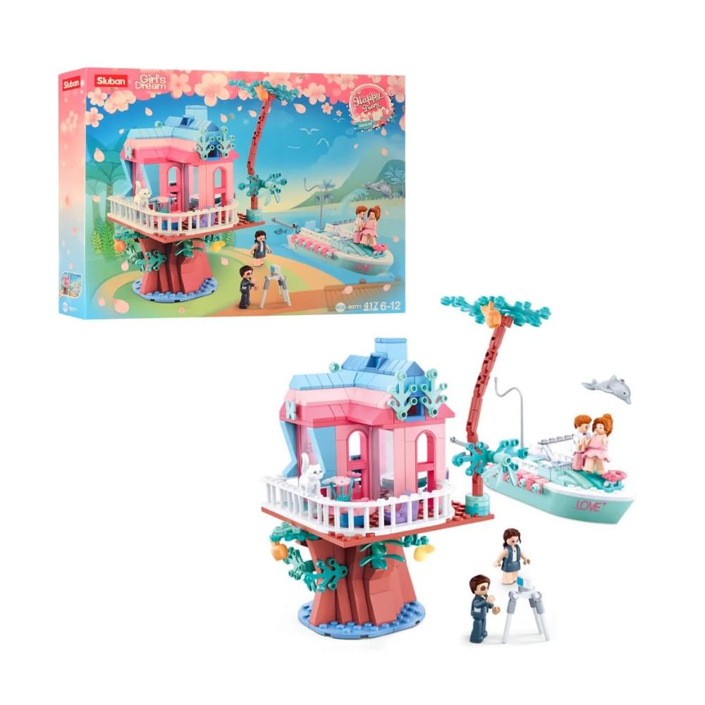 """Дитячий конструктор серії Рожева Мрія """"Весільний будиночок на дереві"""" Sluban M38-B0771 з катером, (417 дет)"""