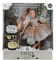 Лялька з шарнірами Емілі в сукні з блискітками, волосся прикрашене діадемою, з аксесуарами і вихованцем QJ 090