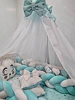 Большой комплект постельного белья в кроватку для малыша с защитой и балдахином Avangard (цвет бирюзовый)