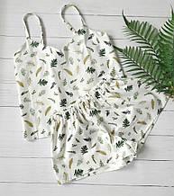 Сатиновая пижама с листьями, майка и шорты