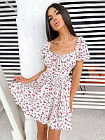 Летнее платье в цветочный принт с расклешенной юбкой и спущенными плечами (р. S, M) 66py2461Е