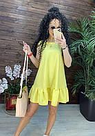 Летнее платье трапеция без рукавов с оборкой короткое легкое в расцветках (р. S-XL) 7py2468