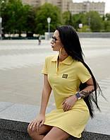 Прямое платье поло в спортивном стиле с короткими рукавами и рубашечным воротником (р. 42-50) 55py2470